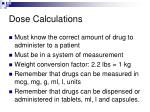 dose calculations
