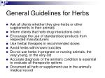general guidelines for herbs