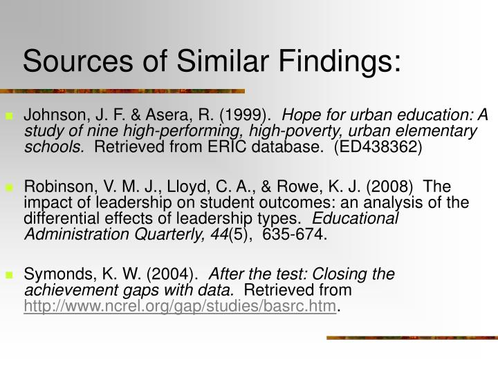 Sources of Similar Findings: