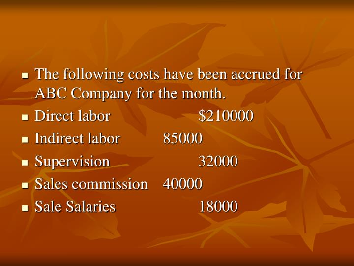 The following costs have been accrued for ABC Company for the month.