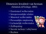 dimensies kwaliteit van bestaan schalock verdugo 2002