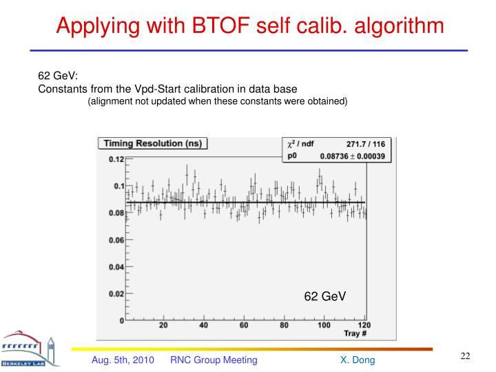 Applying with BTOF self calib. algorithm