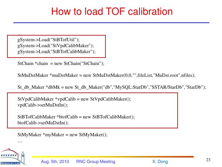 How to load TOF calibration