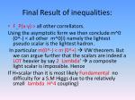 final result of inequalities