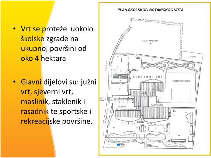 Vrt se proteže  uokolo školske zgrade na ukupnoj površini od oko 4 hektara