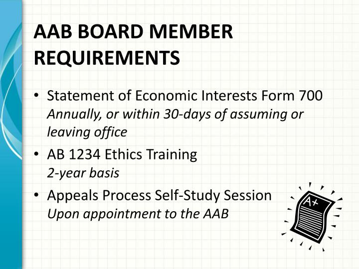 AAB BOARD MEMBER REQUIREMENTS