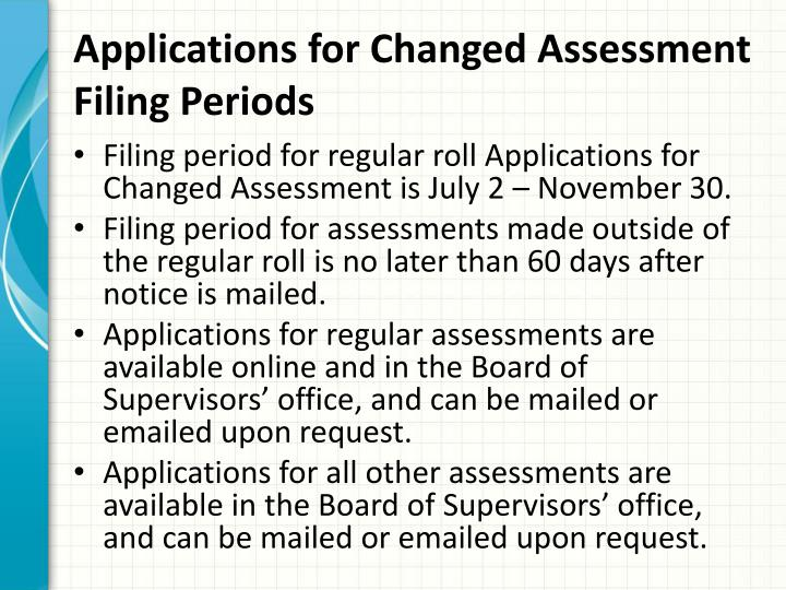 Applications for changed assessment filing periods