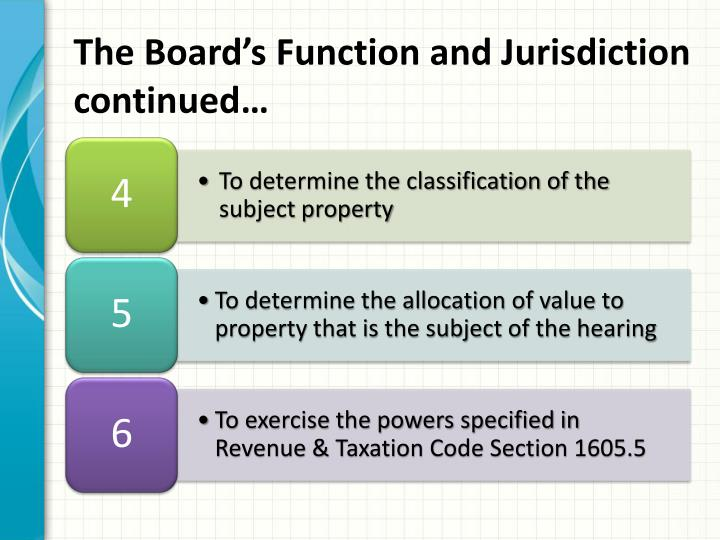 The Board's Function and Jurisdiction continued…