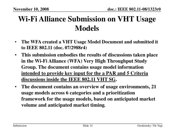 Wi-Fi Alliance Submission on VHT Usage Models