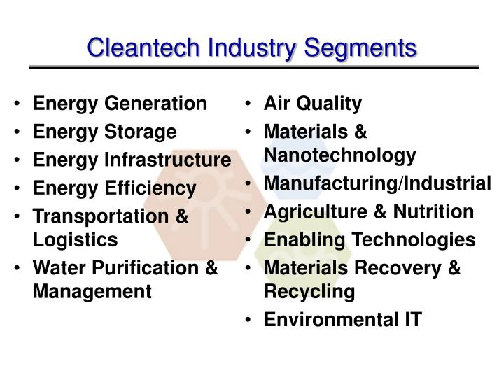 Cleantech Industry Segments