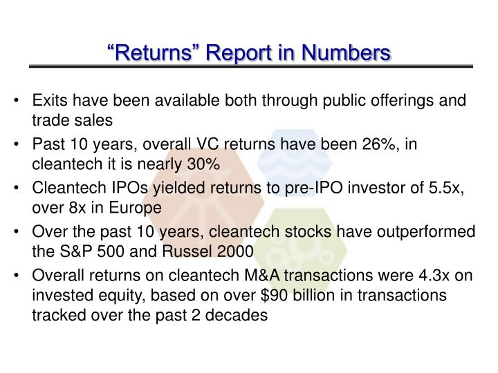 """Returns"" Report in Numbers"