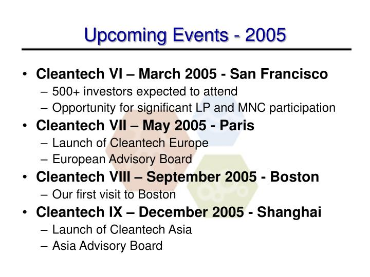 Upcoming Events - 2005
