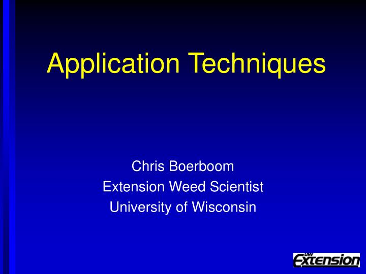 application techniques n.