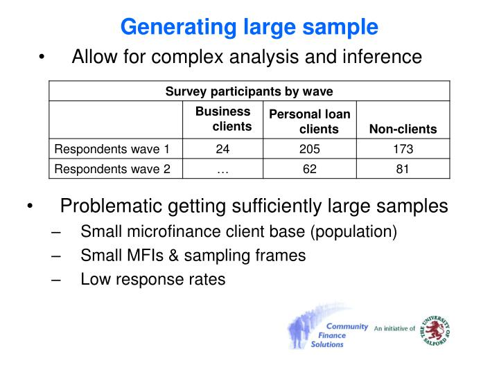 Generating large sample