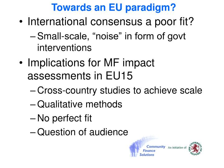 Towards an EU paradigm?
