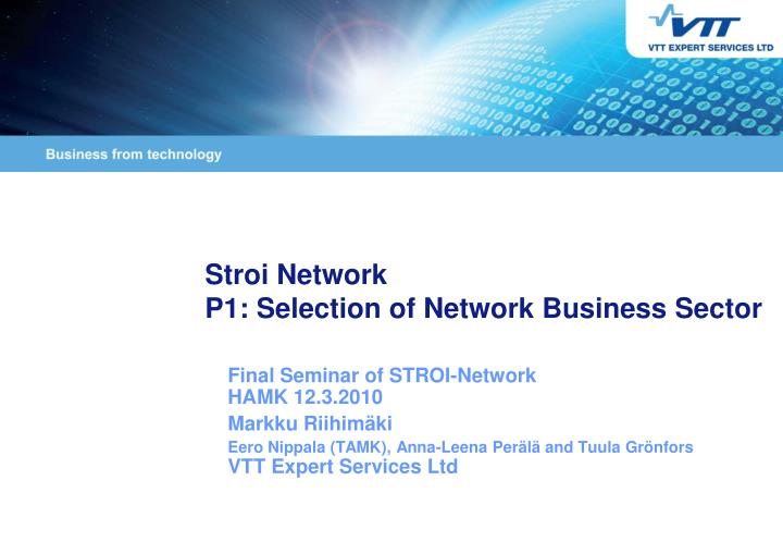 Stroi network p1 selection of network business sector