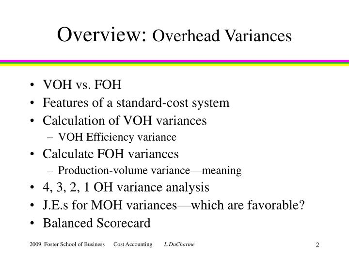 Overview overhead variances