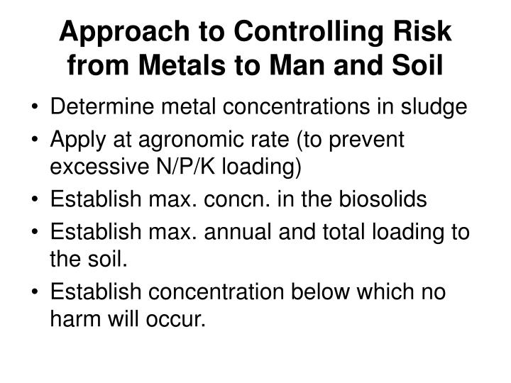Approach to Controlling Risk from Metals to Man and Soil