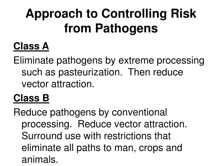 Approach to Controlling Risk from Pathogens