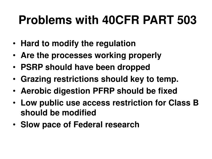 Problems with 40CFR PART 503