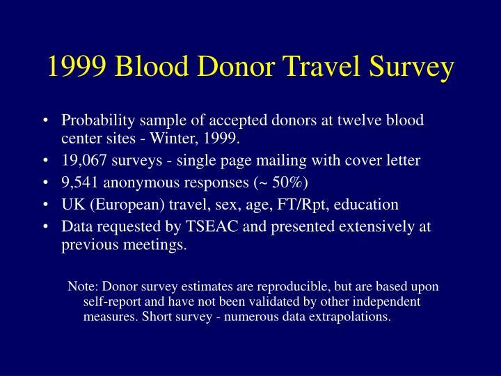 1999 Blood Donor Travel Survey