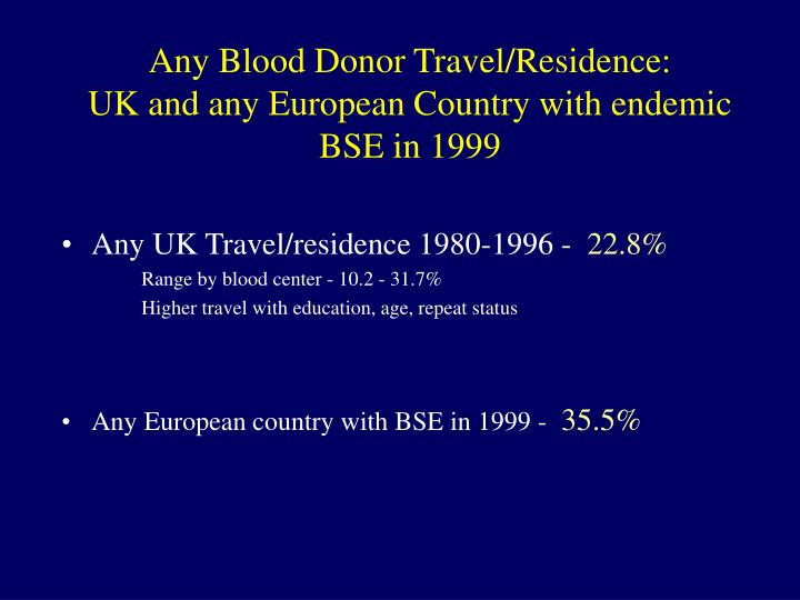 Any Blood Donor Travel/Residence: