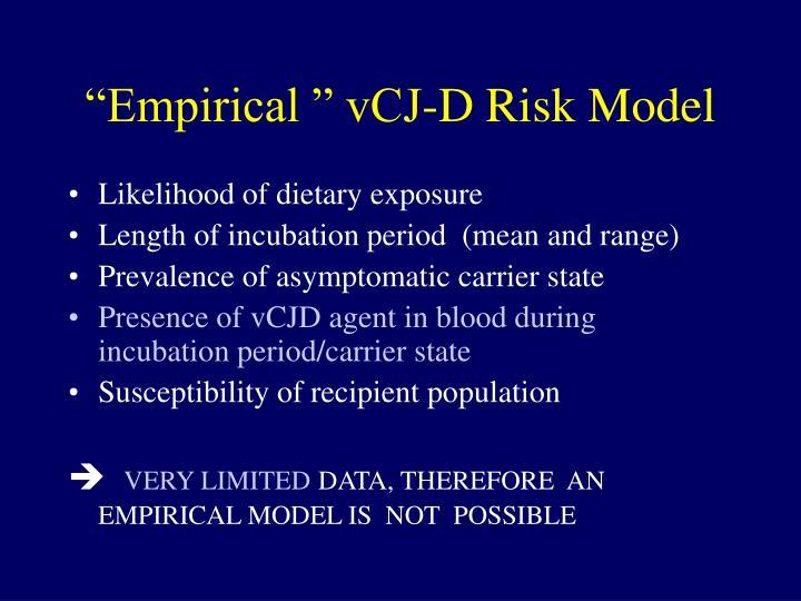 Empirical vcj d risk model