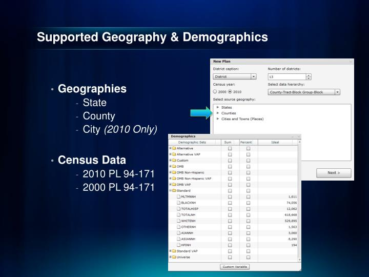 Supported Geography & Demographics