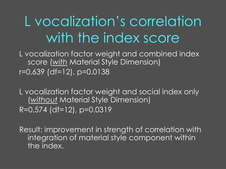 L vocalization's correlation with the index score