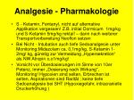 analgesie pharmakologie