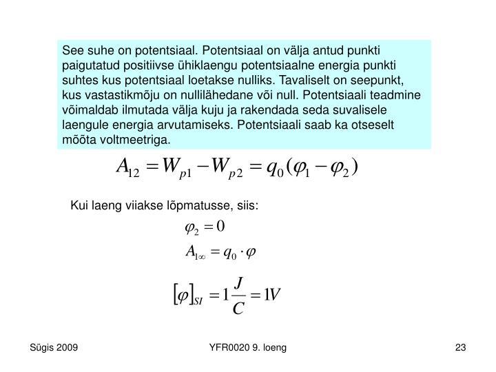 See suhe on potentsiaal. Potentsiaal on välja antud punkti paigutatud positiivse ühiklaengu potentsiaalne energia punkti suhtes kus potentsiaal loetakse nulliks. Tavaliselt on seepunkt, kus vastastikmõju on nullilähedane või null. Potentsiaali teadmine võimaldab ilmutada välja kuju ja rakendada seda suvalisele laengule energia arvutamiseks. Potentsiaali saab ka otseselt mõõta voltmeetriga.