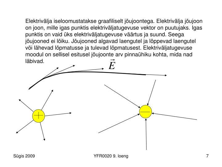 Elektrivälja iseloomustatakse graafiliselt jõujoontega. Elektrivälja jõujoon on joon, mille igas punktis elektriväljatugevuse vektor on puutujaks. Igas punktis on vaid üks elektriväljatugevuse väärtus ja suund. Seega jõujooned ei lõiku. Jõujooned algavad laengutel ja lõppevad laengutel või lähevad lõpmatusse ja tulevad lõpmatusest. Elektriväljatugevuse moodul on sellisel esitusel jõujoonte arv pinnaühiku kohta, mida nad läbivad.