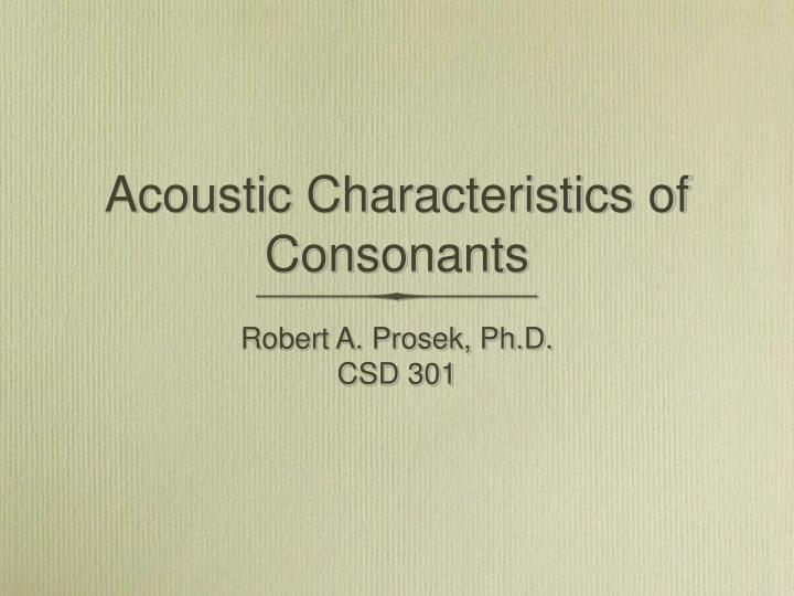 acoustic characteristics of consonants n.