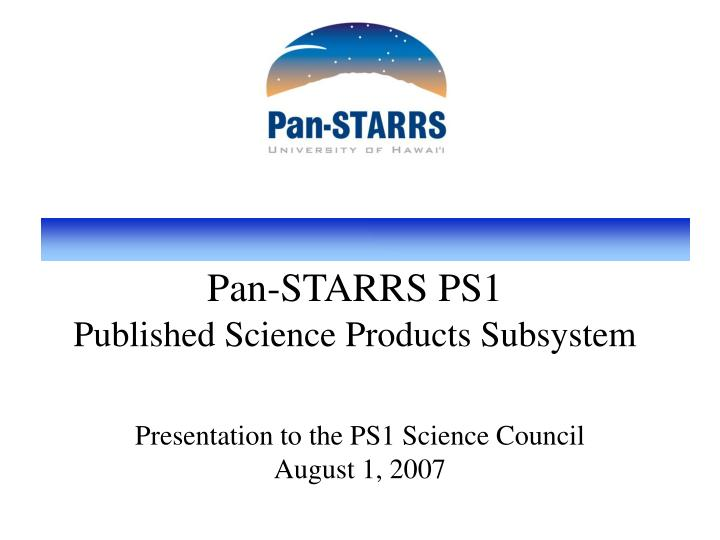 pan starrs ps1 published science products subsystem n.