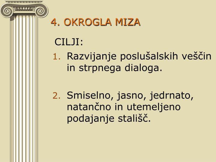 4. OKROGLA MIZA