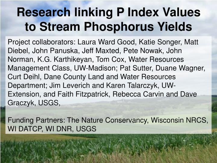 research linking p index values to stream phosphorus yields n.