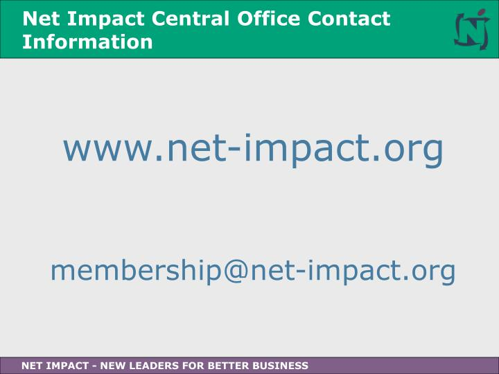 Net Impact Central Office Contact Information