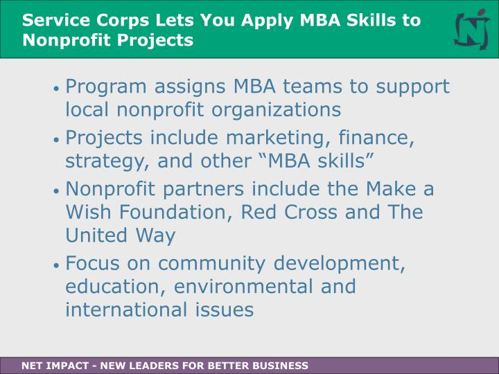Service Corps Lets You Apply MBA Skills to Nonprofit Projects