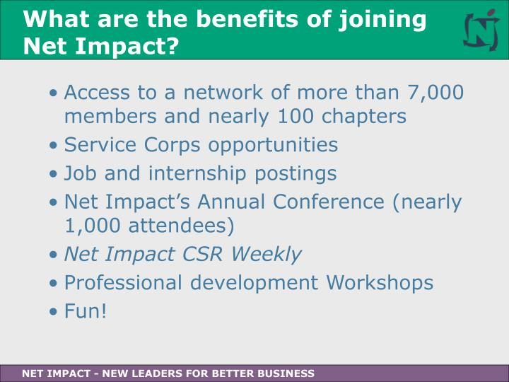 What are the benefits of joining Net Impact?