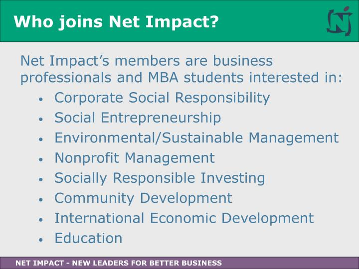 Who joins Net Impact?