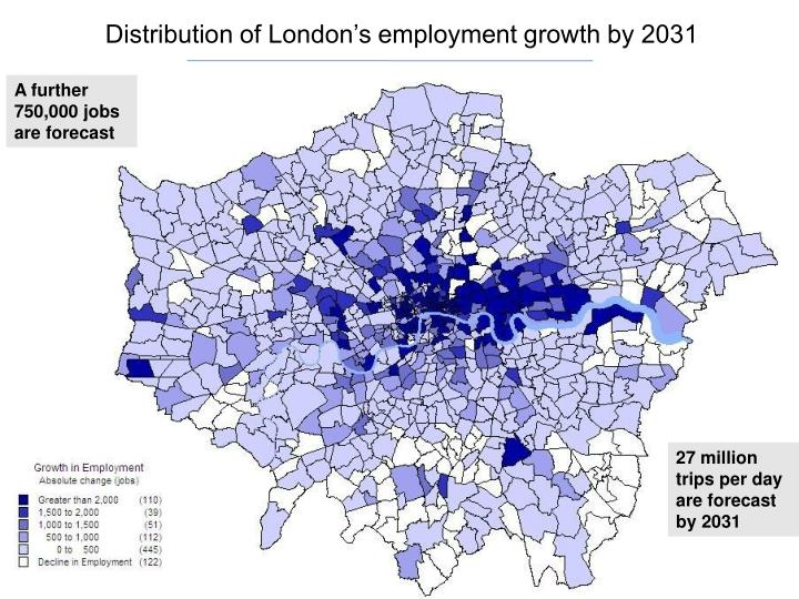 Distribution of London's employment growth by 2031