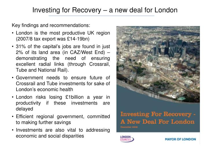Investing for Recovery – a new deal for London