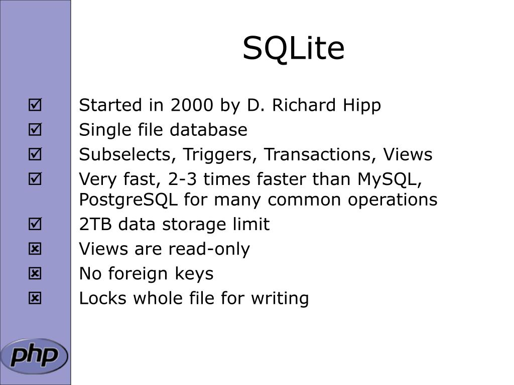 PPT - SQLite and PHP PowerPoint Presentation - ID:3393613