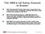 tg4 wbm lab testing growcock for breeden