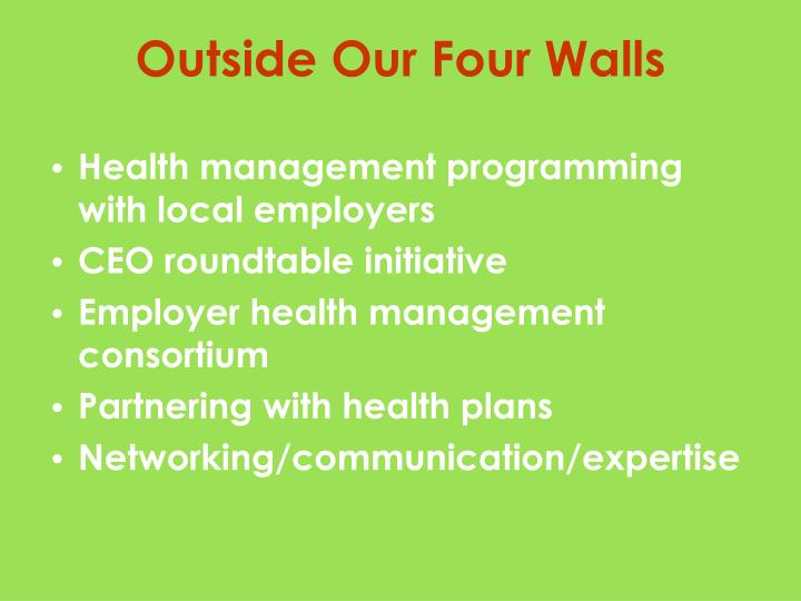 Health management programming with local employers