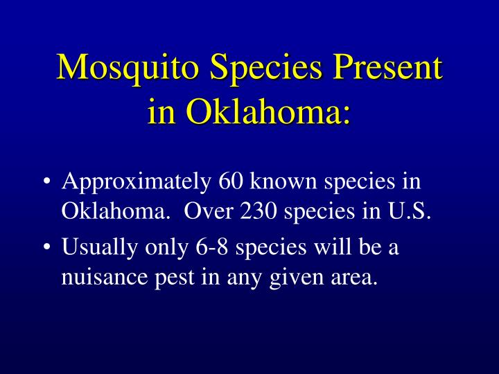 Mosquito Species Present in Oklahoma: