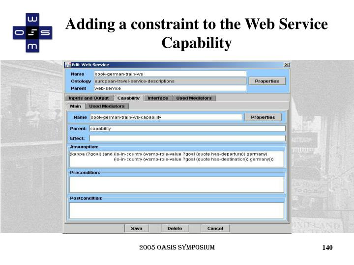 Adding a constraint to the Web Service Capability