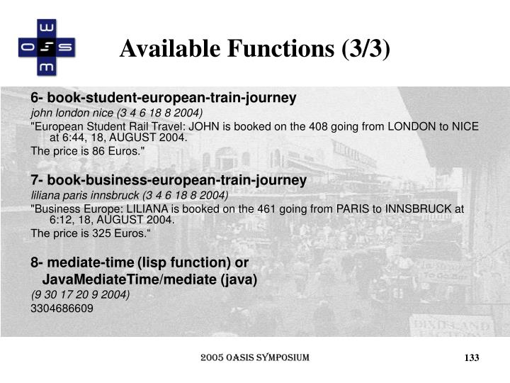 Available Functions (3/3)