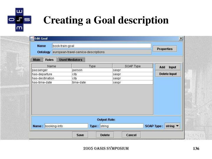 Creating a Goal description