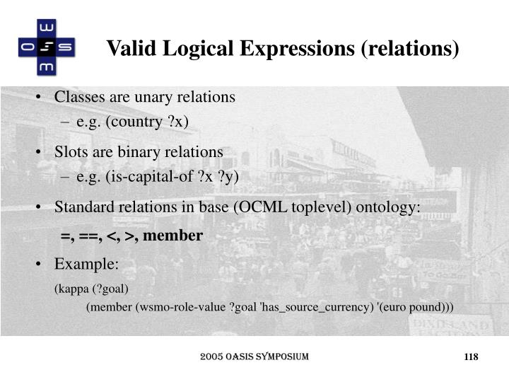 Valid Logical Expressions (relations)